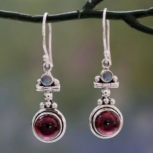 Jewelry - Red Agate & Moonstone Earrings